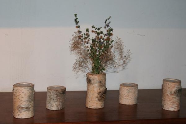 Vase og lysestager i birketræ